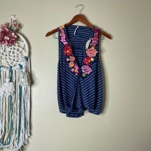 Free People Embroidered Floral Tank Top Blue XS